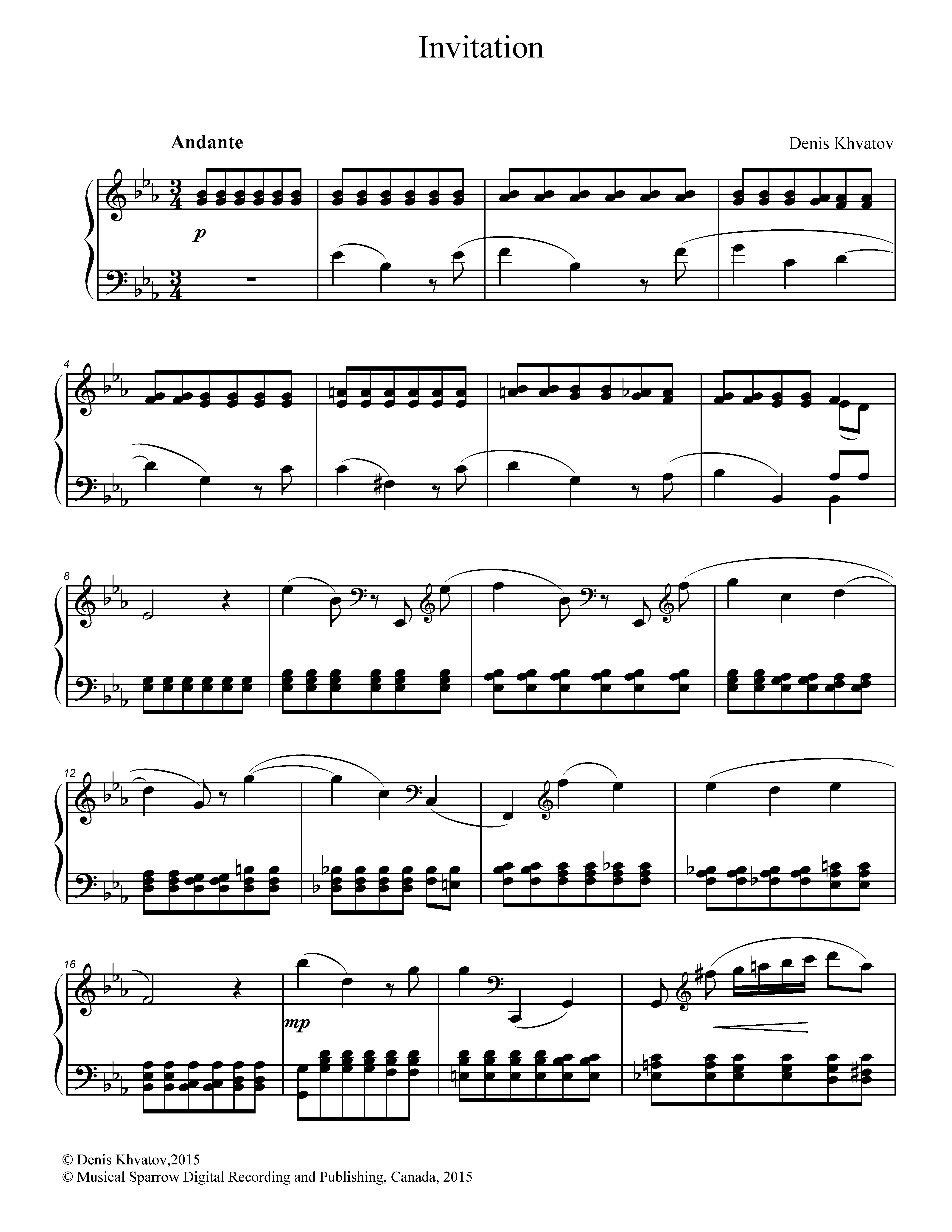 Denis Khvatov. Invitation. Piece for piano.