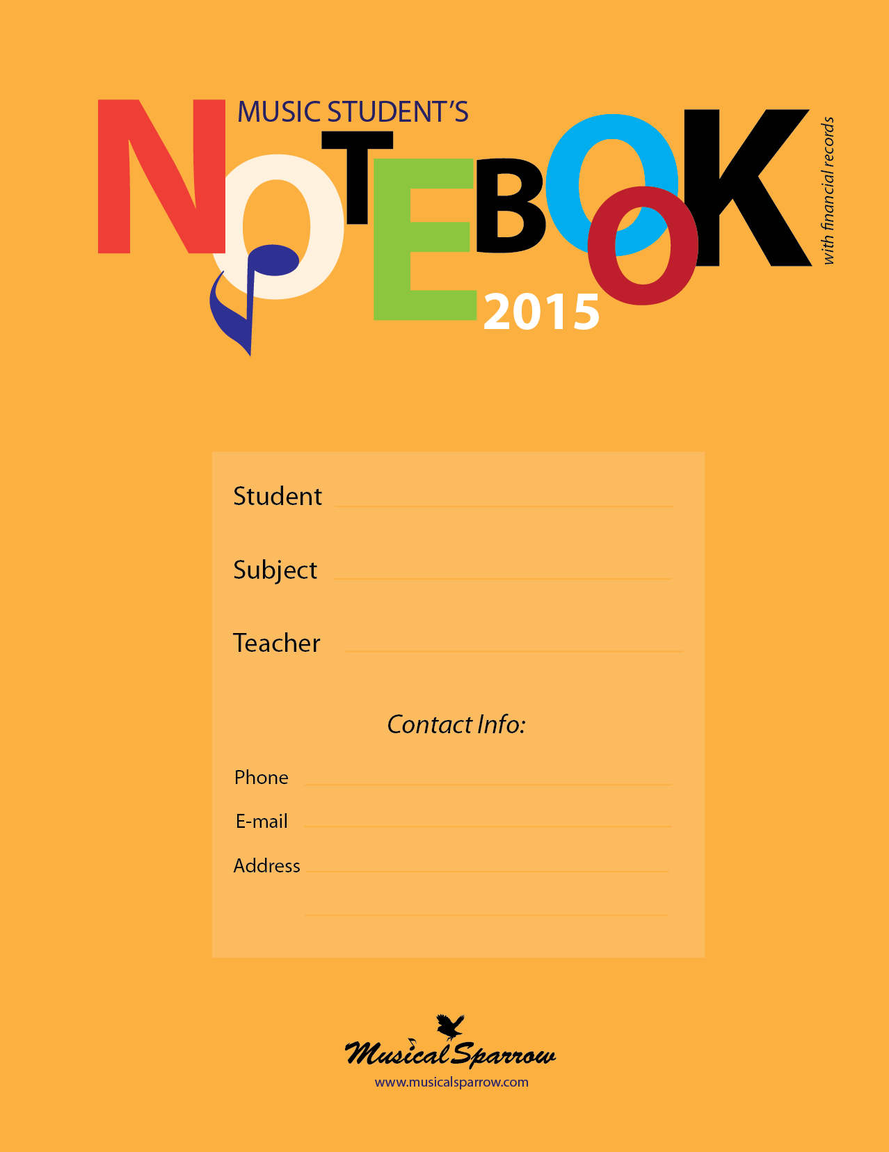 Music Student's Notebook, 2015 (with financial records)